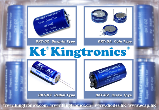 Kt Kingtronics Offer Super Capacitor--Radial, Snap-in, Screw Type and Coin Type